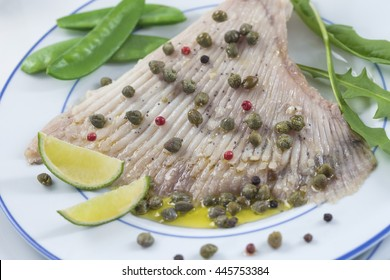 steamed skate wing with Caper Butter