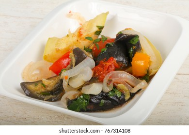 Steamed vegetables - eggplant, tomato, pepper and zucchini