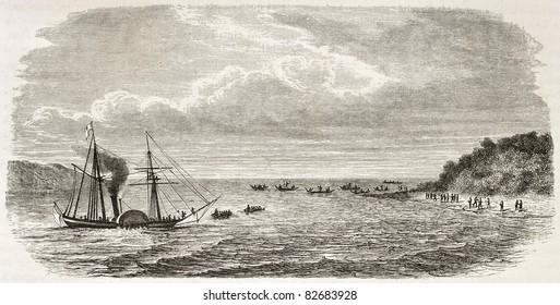 Steamer landing in Grand Andaman island, Indian ocean. Created by De Bar after Mallitte, published on Le Tour du Monde, Paris, 1860