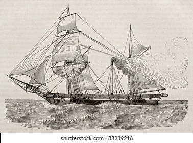 Steamer old illustration. By unidentified author, published on Magasin Pittoresque, Paris, 1840