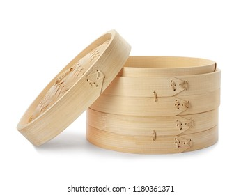 Steamer set made of bamboo on white background