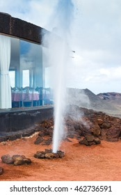 Steaming bore hole (like a mini geyser) in the Timanfaya National Park. Lanzarote. Canary Islands. Spain.
