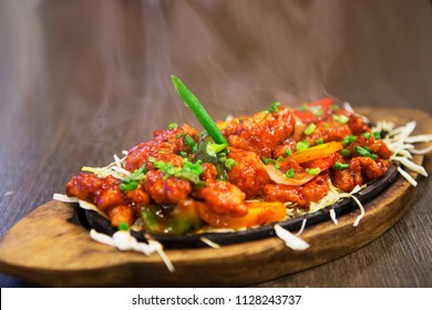 Steaming chicken sizzler is real tasty dish for lunch or dinner