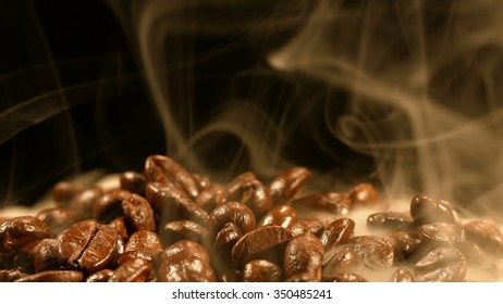 Steaming coffee beans.