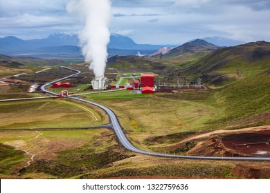 Steaming cooling tower at Krafla geothermal power plant, the largest Icelands power station near Krafla Volcano, Northeastern Iceland, Scandinavia