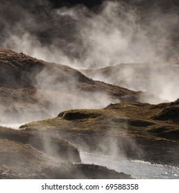 Steaming geothermal hot water, Iceland
