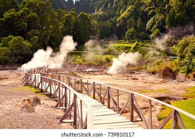 Steaming geysers at Furnas on Azores, Sao Miguel, Portugal