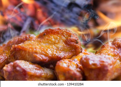 steaming hot chicken wings