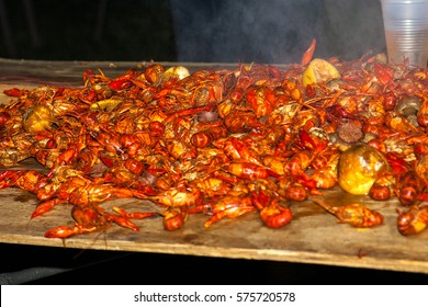 Steaming hot crawfish and potatoes from a Texas gulf coast crawfish boil