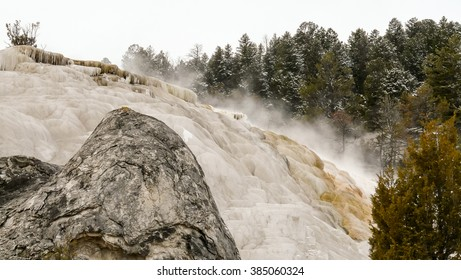 Steaming hot water carrying minerals from underground In Yellowstone National Park, Wyoming USA.