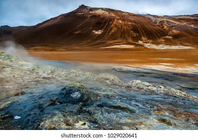 steaming Krafla volcanic area at Hverir