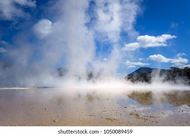 Steaming lake in Waiotapu geothermal area, Rotorua, New Zealand