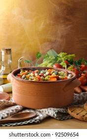 Steaming vegetables soup