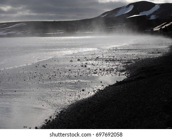 Steaming Volcanic Beach Deception Island South Shetlands Antarctica