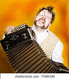 Steampunk accordion player