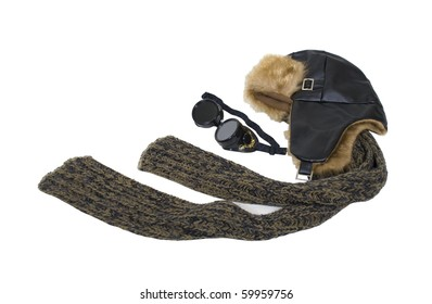Steampunk aviator kit including goggles worn to protect the eyes, and an aviator hat and scarf - path included