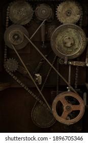 Steampunk background, brass cog wheels