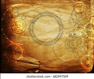 steampunk background with mechanical gears and cogs on canvas paper