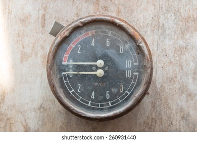 Steampunk background. Metal, mechanical device. Manometer.