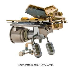 Steampunk bee. Cyberpunk style. Bronze and steel parts. Retro.