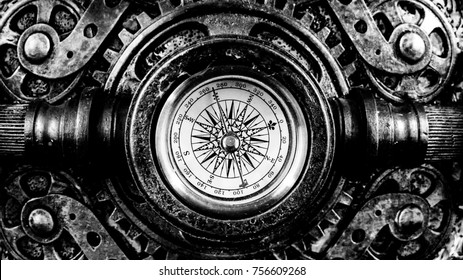 Steampunk compass in black and white.