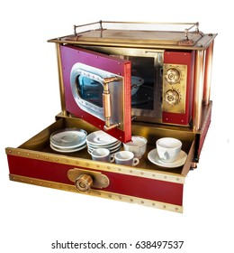 Steampunk custom microwave oven with white porcelain cups