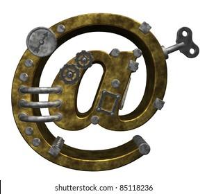 steampunk email symbol on white background - 3d illustration