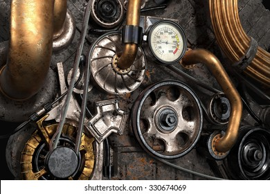 Steampunk Engine with Gears and Belts