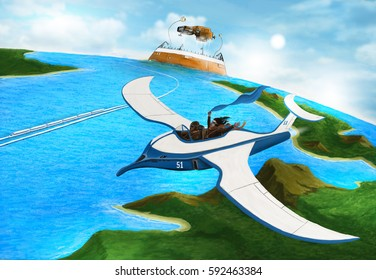 Steampunk. Flying on a plane in the form of a seagull flying over blue sea