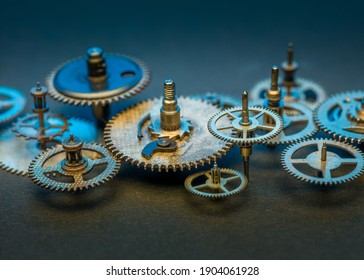 Steampunk gears background. Aged mechanical clock wheels close-up. Shallow depth of field.