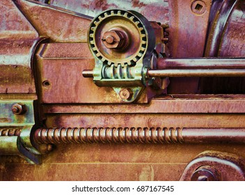 Steampunk gears, worm gears in vintage machinery. 1880's colonial guns of Bundaberg Queensland.