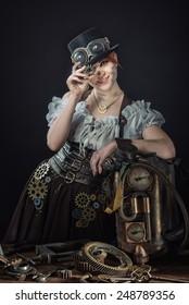 Steam-punk girl's portrait
