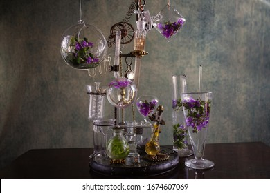 Steampunk glass and color flower distiller
