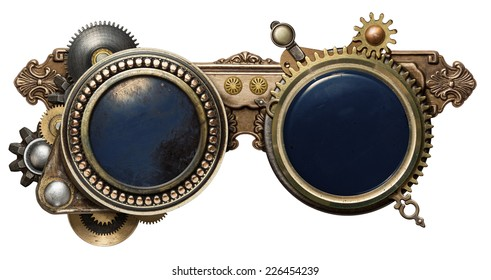 Steampunk glasses metal collage, isolated on white