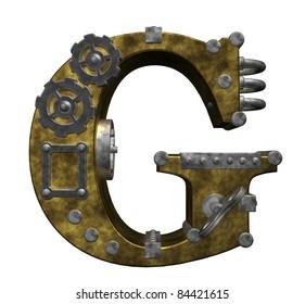 steampunk letter g on white background - 3d illustration