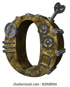 steampunk letter o on white background - 3d illustration