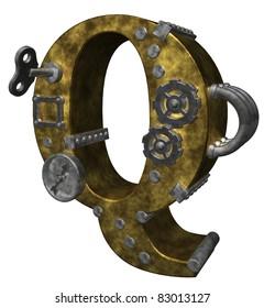 steampunk letter q on white background - 3d illustration
