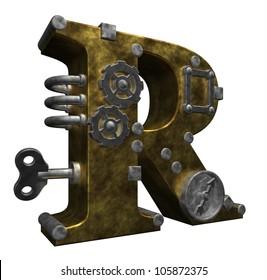 steampunk letter r on white background - 3d illustration