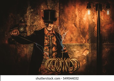 Steampunk man with Tesla coil on vintage steampunk background