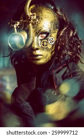 Steampunk man wearing mask with various mechanical devices.  Fantasy.