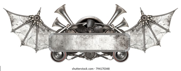 Steampunk metal frame and old auto spare parts car isolated white background