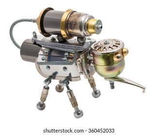 Steampunk mosquito. Cyberpunk style. Bronze and steel parts. Retro.