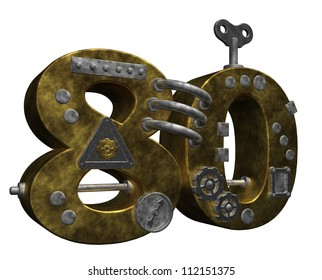 steampunk number eighty on white background - 3d illustration