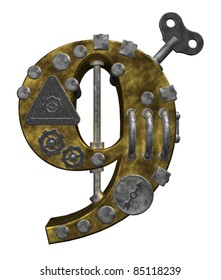 steampunk number nine on white background - 3d illustration