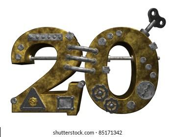 steampunk number twenty on white background - 3d illustration