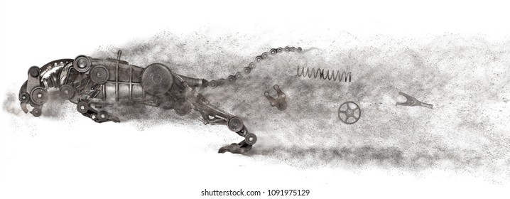 Steampunk predator. Old auto spare parts car on the white background