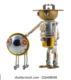 Steampunk robot with puppy. Cyberpunk style. Chrome and bronze parts. Isolated on white.