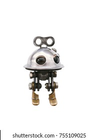 Steampunk robot, steel and chrome details, isolated on a white background