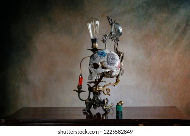 Steampunk skull gear