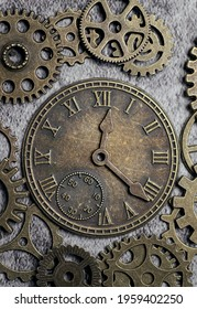 Steampunk style clock surrounded with gears and cogs